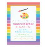 Rainbow Painting Arts Crafts Kids Birthday Party 4.25x5.5 Paper Invitation Card