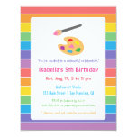 Rainbow Painting Arts Crafts Kids Birthday Party Card