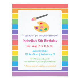 Rainbow Painting Arts Crafts Kids Birthday Party 4.25x5.5 Paper Invitation Card