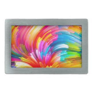 rainbow-painting- rectangular belt buckle