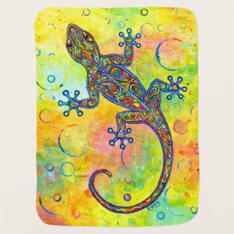 Rainbow Paisley Electric Gecko Baby Blanket