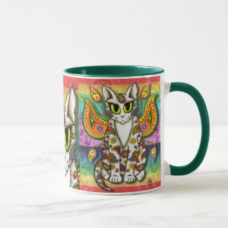 Rainbow Paisley Fairy Cat Fantasy Art Coffee Mug