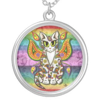 Rainbow Paisley Fairy Cat Fantasy Art Necklace
