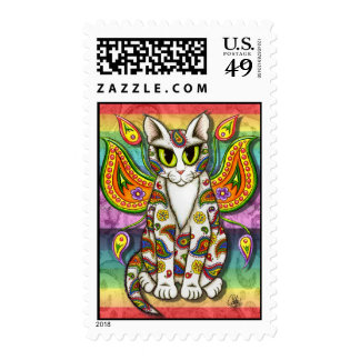 Rainbow Paisley Fairy Cat Fantasy Art Postage