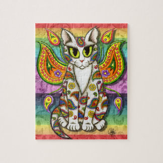 Rainbow Paisley Fairy Cat Fantasy Art Puzzle
