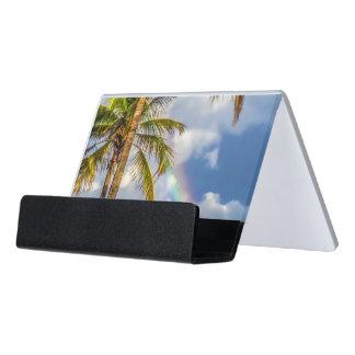 Rainbow Palm Desk Business Card Holder