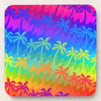 Rainbow palm trees coaster