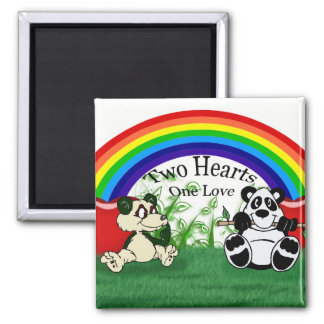 Rainbow, Panda, Pandas, Grass, Leaves, Two Hearts, Refrigerator Magnet