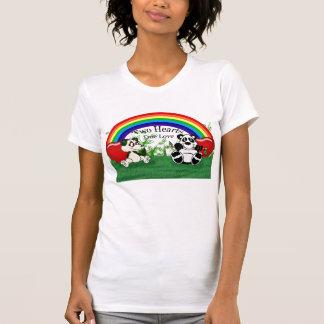 Rainbow, Panda, Pandas, Grass, Leaves, Two Hearts, T Shirt