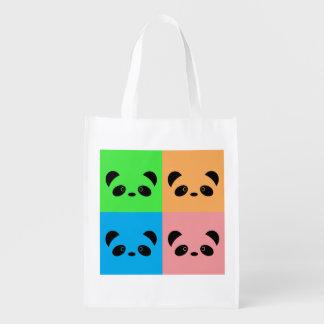 Rainbow Panda Reusable Grocery Bags