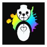 rainbow panda splatz 5.25x5.25 square paper invitation card