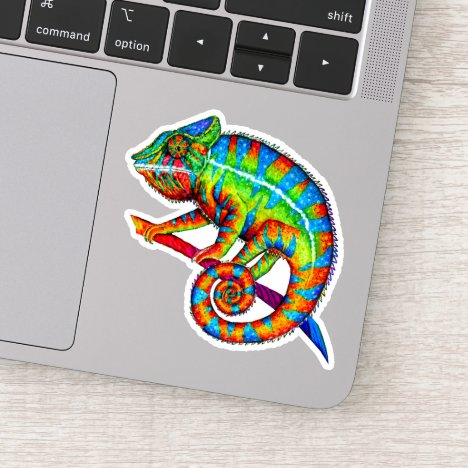 Rainbow Panther Chameleon Vinyl Sticker