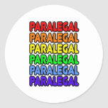 Rainbow Paralegal Round Stickers