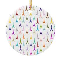 Rainbow Paris Eiffel Tower pattern Ceramic Ornament