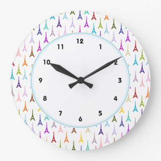 Rainbow Paris Eiffel Tower pattern Large Clock