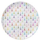 Rainbow Paris Eiffel Tower pattern Melamine Plate