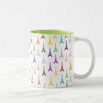 Rainbow Paris Eiffel Tower pattern Two-Tone Coffee Mug