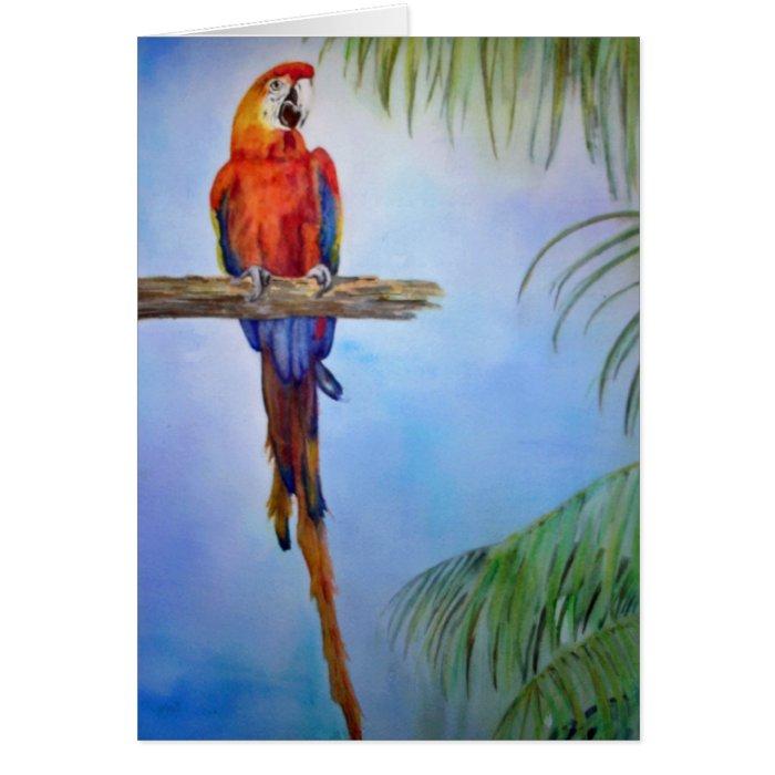 Rainbow Parrot Bird Palm Tree Watercolor Painting Card