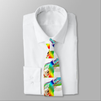 Rainbow Party Person With Guitar An Music Tie