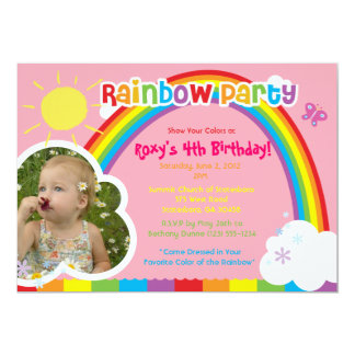 Rainbow Party photo Invitations for girls