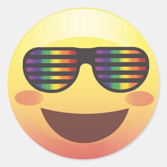 Rainbow Party Shades Smiley Emoji Face Sticker | Zazzle.com