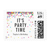 """Rainbow """"Party Time"""" Postage Stamps, Personalized"""