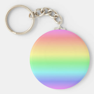 Rainbow Pastel Basic Round Button Keychain