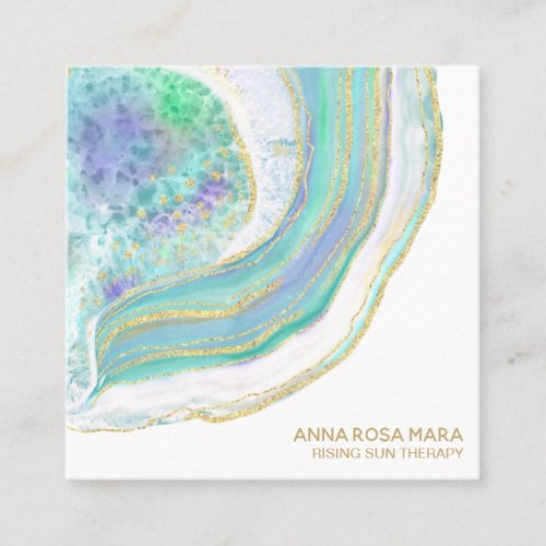 Rainbow Pastel Blue Mint Gold Glitter Agate Square Business Card