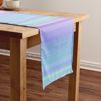 Rainbow Pastel Blue Purple Green Table Runner