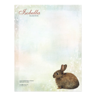 Rainbow Pastel & Brown Rabbit Personal Letterhead