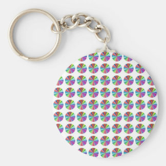 rainbow pastel colors fabric design circles Antiqu Basic Round Button Keychain