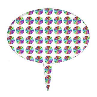 rainbow pastel colors fabric design circles Antiqu Cake Topper
