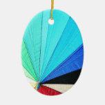 rainbow pastel colors fabric design circles Antiqu Ornament