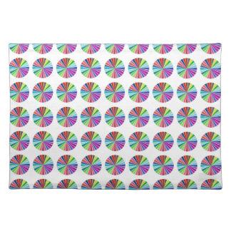 rainbow pastel colors fabric design circles Antiqu Place Mats