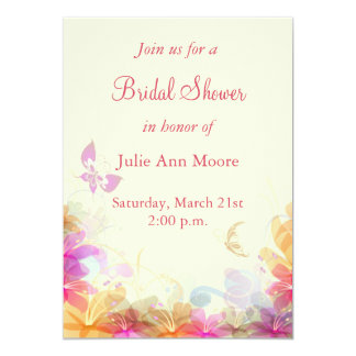 Rainbow Pastel Florals Bridal Shower 5x7 Paper Invitation Card