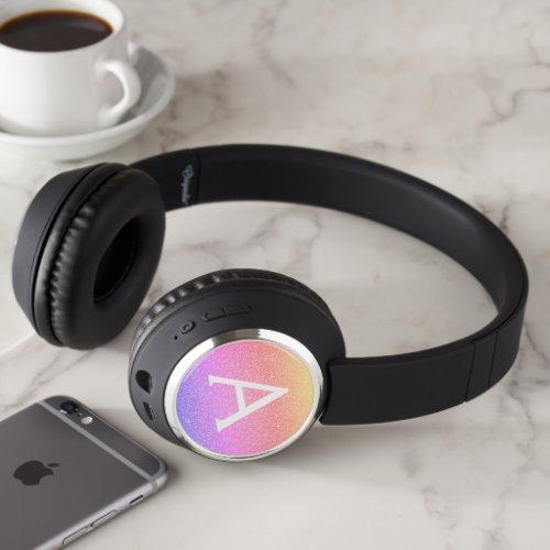 Rainbow Pastel Glitter & Sparkle Monogram Headphones