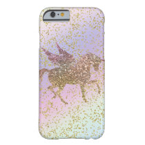 Rainbow Pastel Gold Glitter Unicorn Trendy Girls Barely There iPhone 6 Case