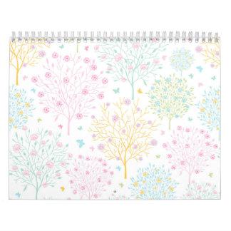Rainbow Pastel Trees Hand Drawn Doodle Print Wall Calendar