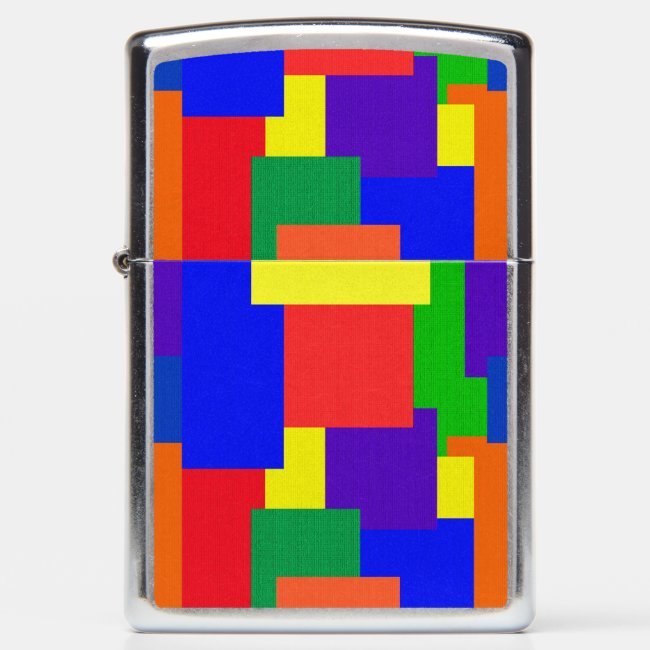 Rainbow Patchwork Abstract Quilt Pattern Lighter