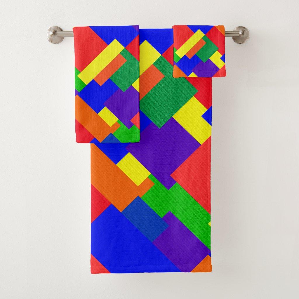 Rainbow Patchwork Pattern Bath Towels