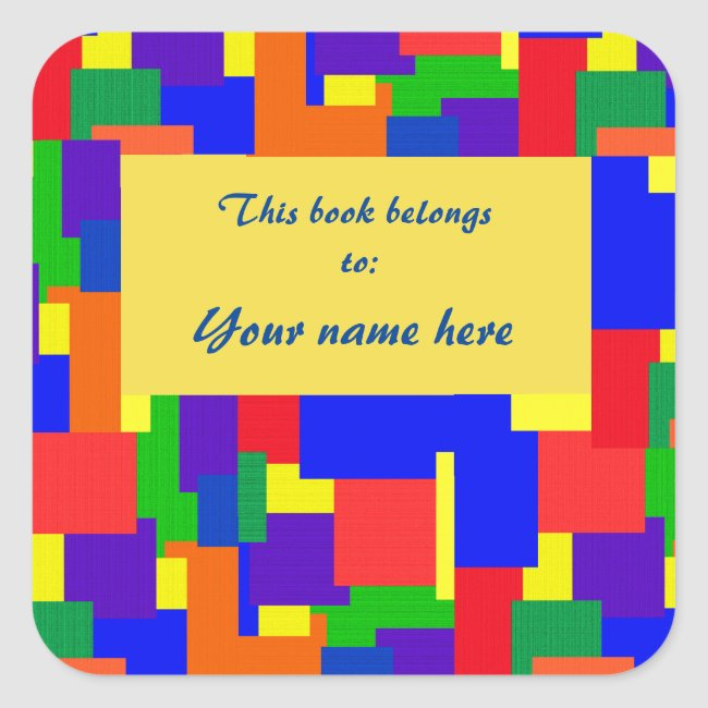 Rainbow Patchwork Quilt Abstract Design Bookplate