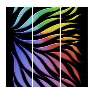 Rainbow Pattern Candy Black Triptych