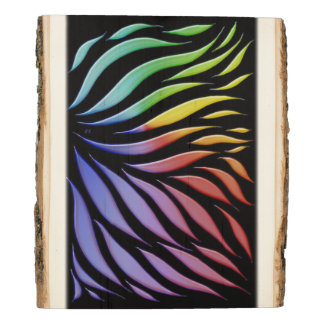 Rainbow Pattern Candy Black Wood Panel