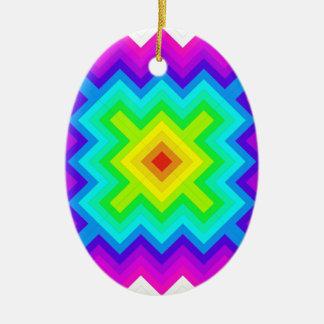 Rainbow Pattern Granny Square Style Ceramic Ornament