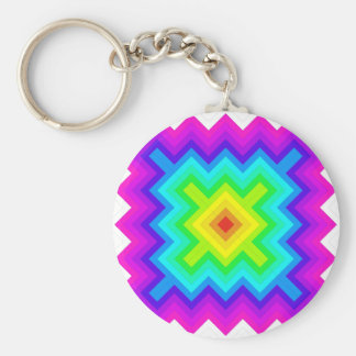 Rainbow Pattern Granny Square Style Keychain