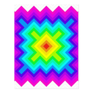 Rainbow Pattern Granny Square Style Postcard