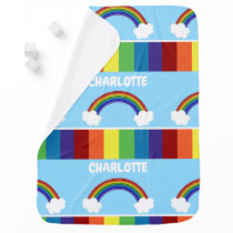 Rainbow Pattern Personalized Colorful Receiving Blanket