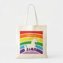Rainbow Pattern White Unicorn Personalized Kids Tote Bag