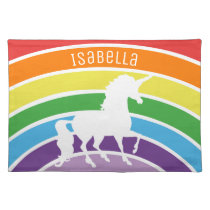 Rainbow Pattern White Unicorn Personalized Pretty Placemat