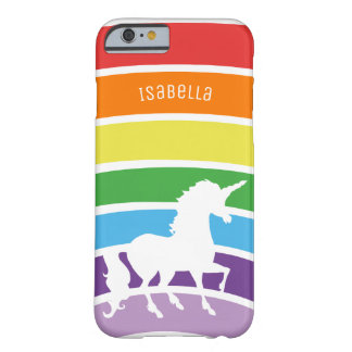 Rainbow Pattern White Unicorn Personalized Trendy Barely There iPhone 6 Case